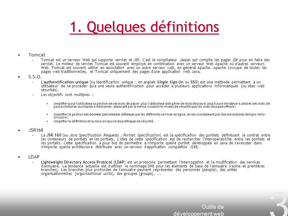 1. Quelques définitions Outils de développement web Tomcat S.S.O.