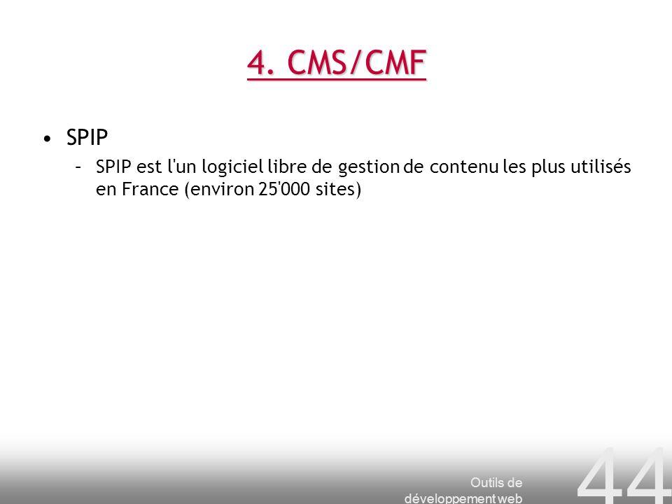 4. CMS/CMF SPIP. SPIP est l un logiciel libre de gestion de contenu les plus utilisés en France (environ 25 000 sites)