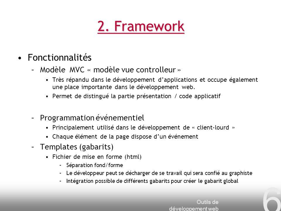 2. Framework Fonctionnalités Modèle MVC « modèle vue controlleur »