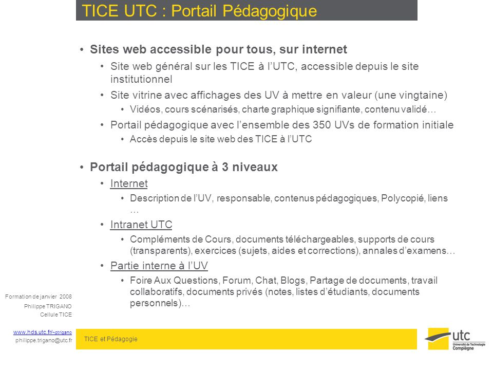 TICE UTC : Portail Pédagogique