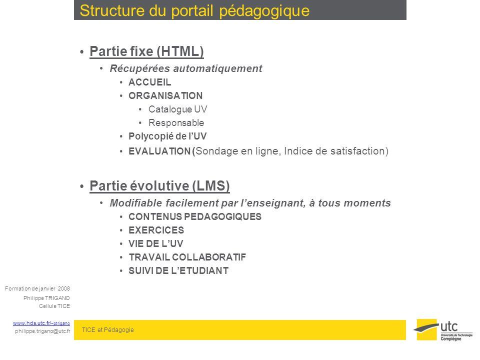 Structure du portail pédagogique