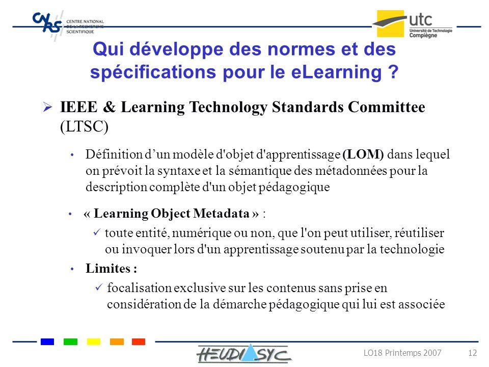 Qui développe des normes et des spécifications pour le eLearning