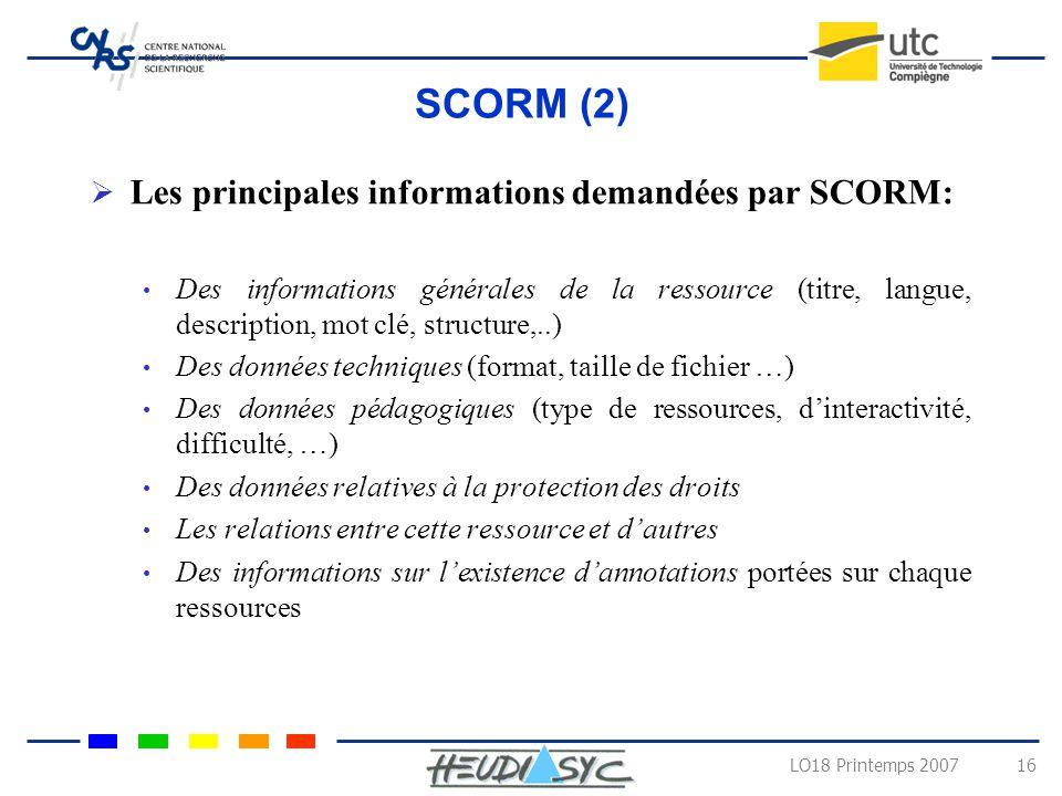 SCORM (2) Les principales informations demandées par SCORM:
