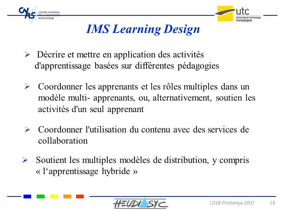 IMS Learning Design Décrire et mettre en application des activités d apprentissage basées sur différentes pédagogies.