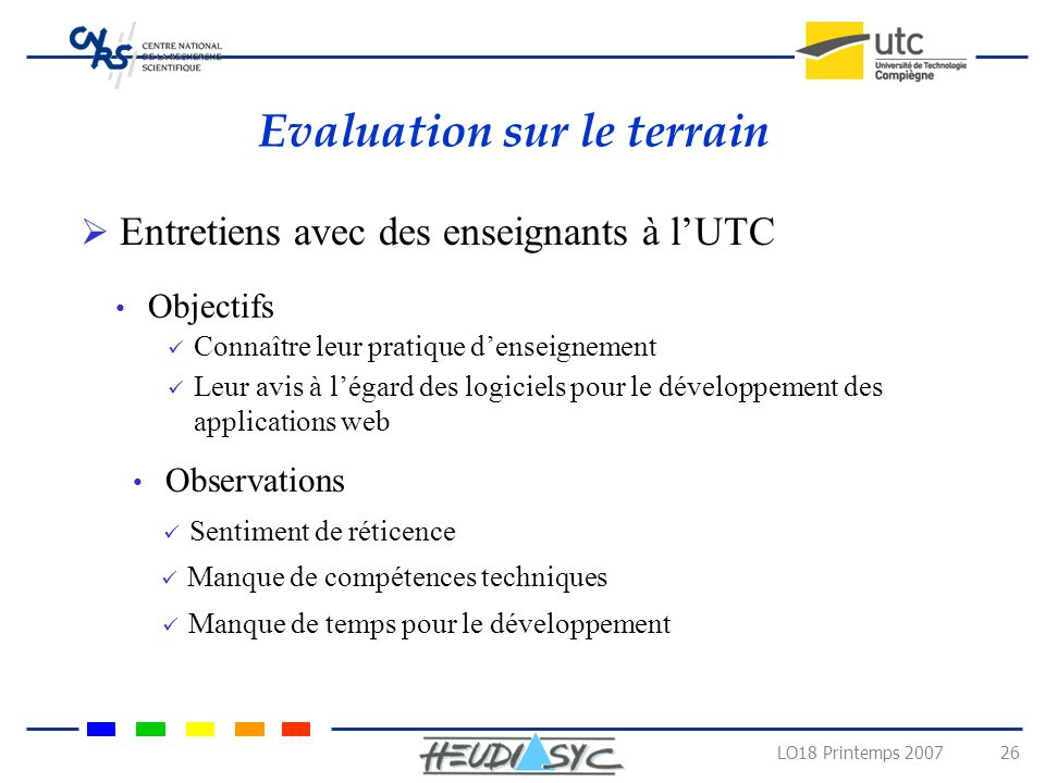 Evaluation sur le terrain