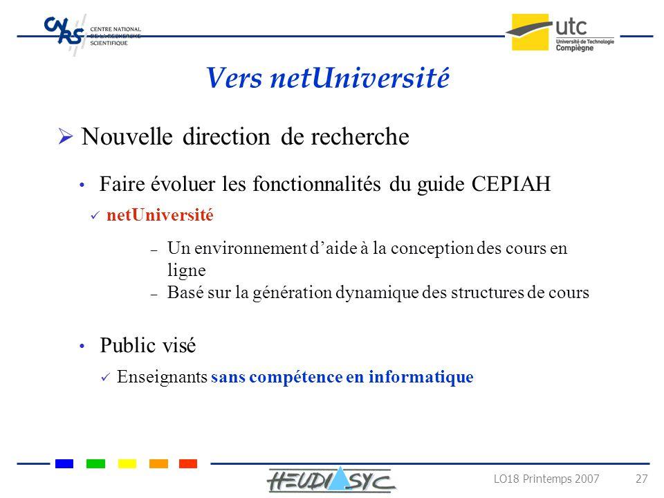 Vers netUniversité Nouvelle direction de recherche