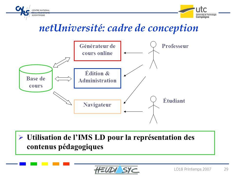 netUniversité: cadre de conception