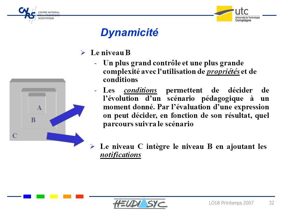 Dynamicité Le niveau B. Un plus grand contrôle et une plus grande complexité avec l utilisation de propriétés et de conditions.
