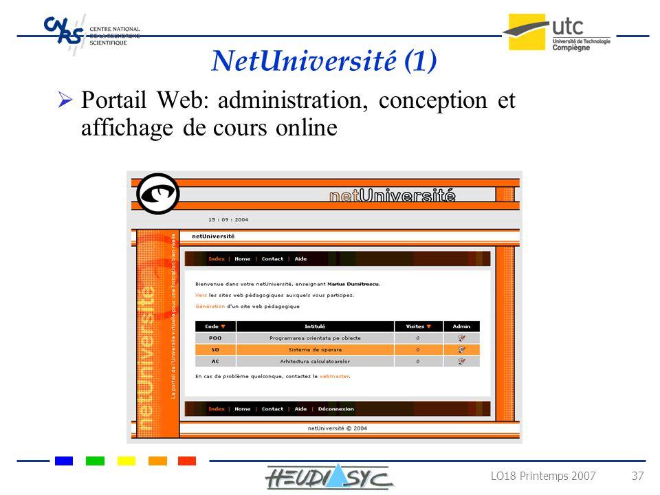 NetUniversité (1) Portail Web: administration, conception et affichage de cours online