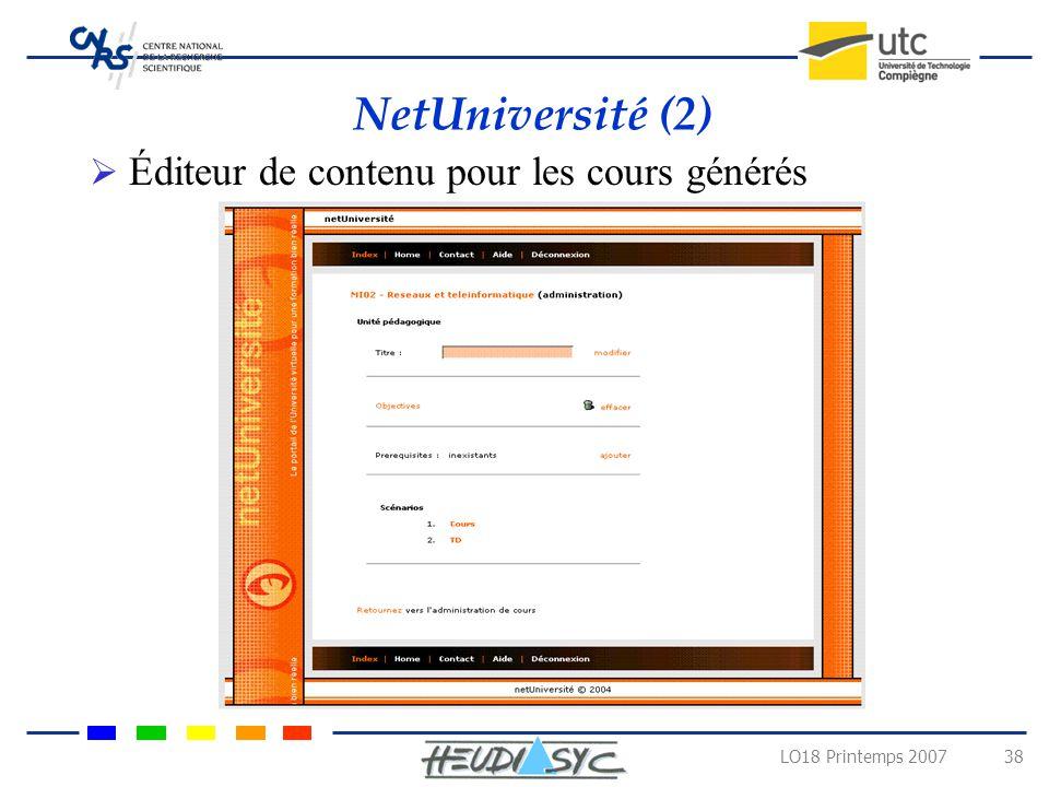 NetUniversité (2) Éditeur de contenu pour les cours générés
