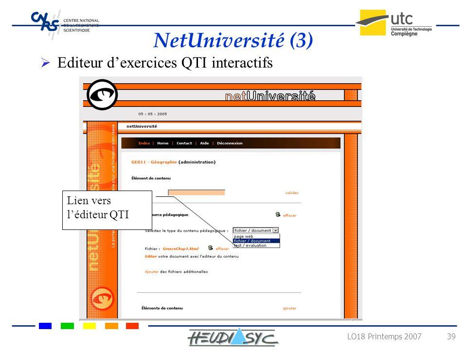 NetUniversité (3) Editeur d'exercices QTI interactifs