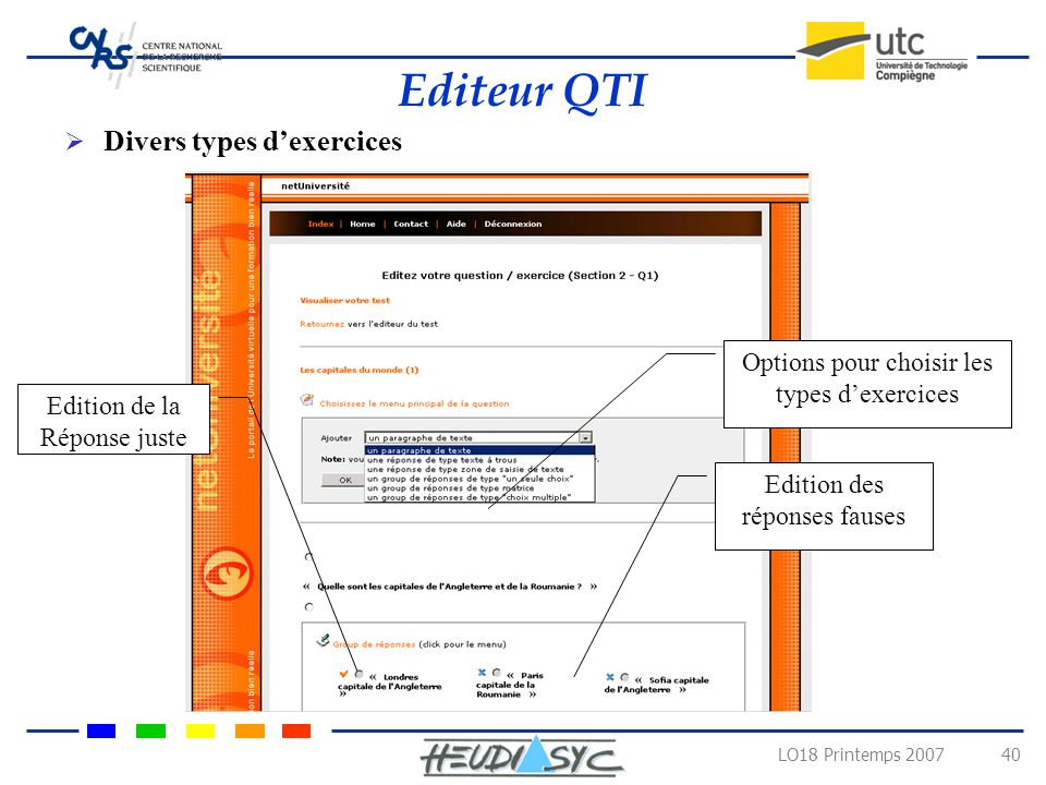 Editeur QTI Divers types d'exercices