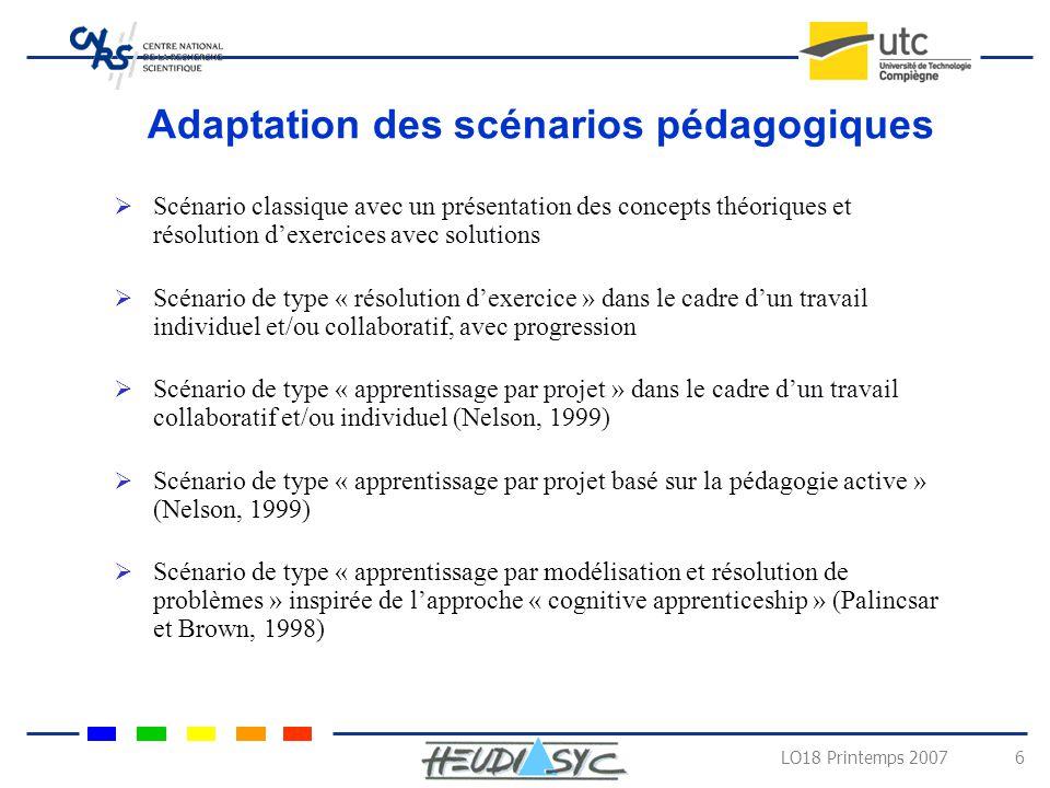 Adaptation des scénarios pédagogiques