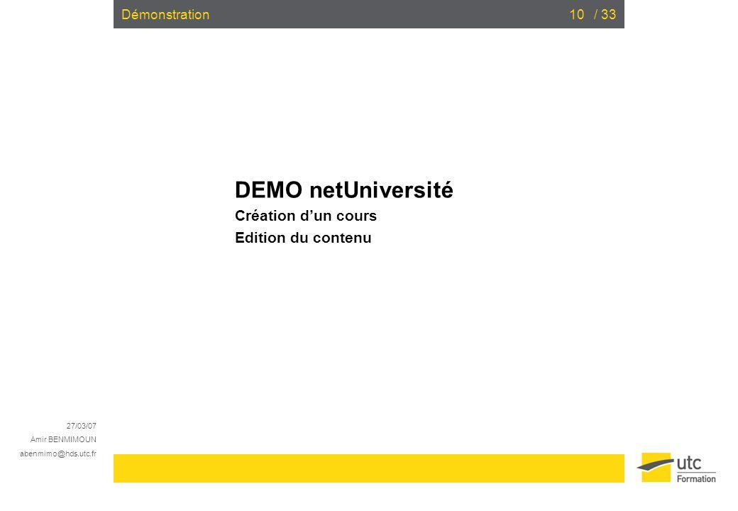 DEMO netUniversité Création d'un cours Edition du contenu
