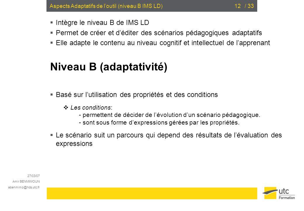 Aspects Adaptatifs de l'outil (niveau B IMS LD)