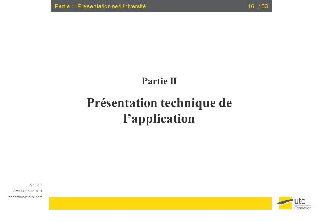Présentation technique de l'application