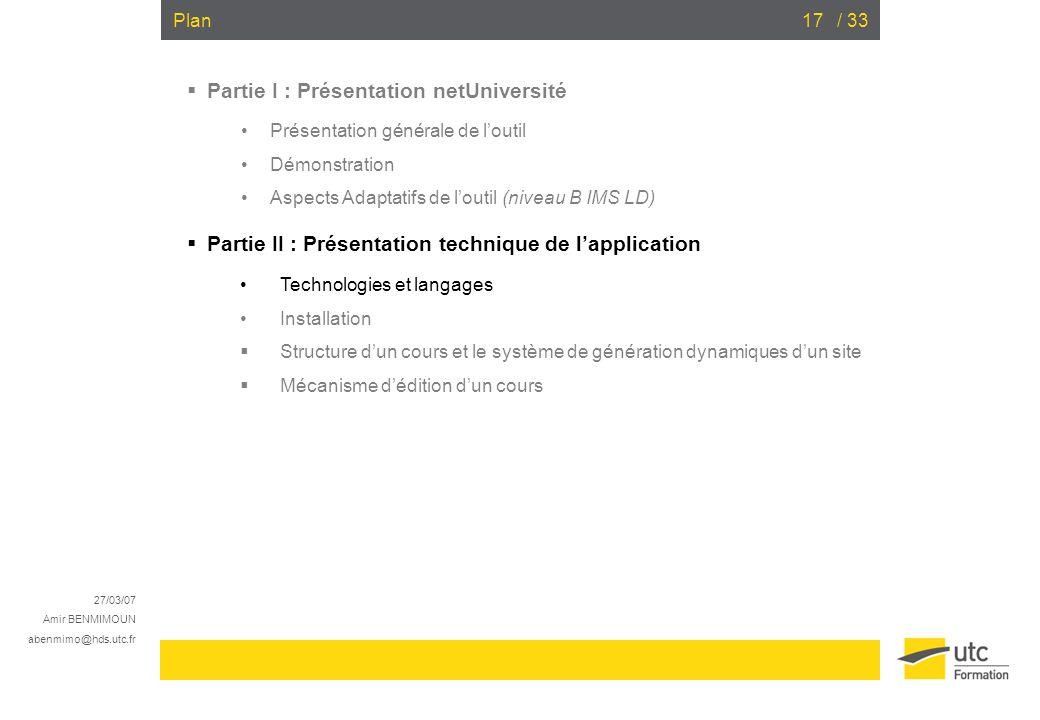 Partie I : Présentation netUniversité