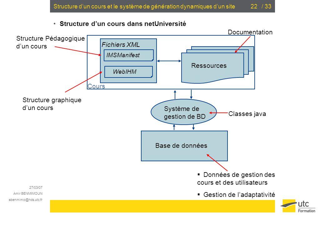 Structure d'un cours et le système de génération dynamiques d'un site