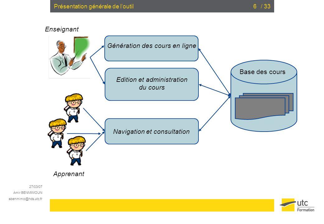 Edition et administration du cours