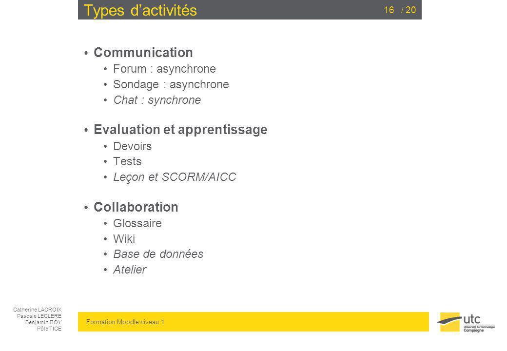 Types d'activités Communication Evaluation et apprentissage