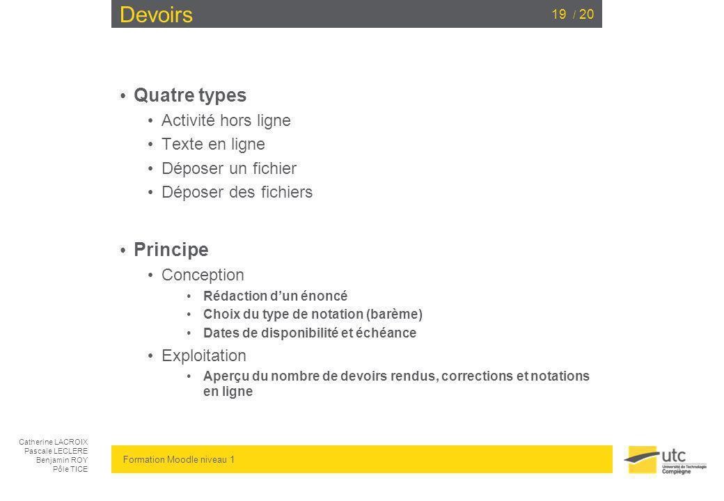 Devoirs Quatre types Principe Activité hors ligne Texte en ligne