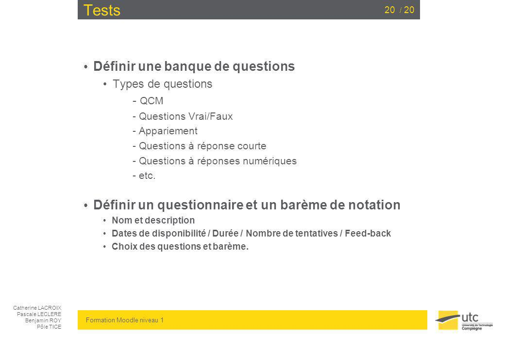 Tests Définir une banque de questions