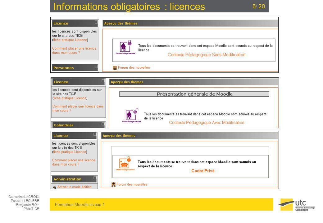Informations obligatoires : licences