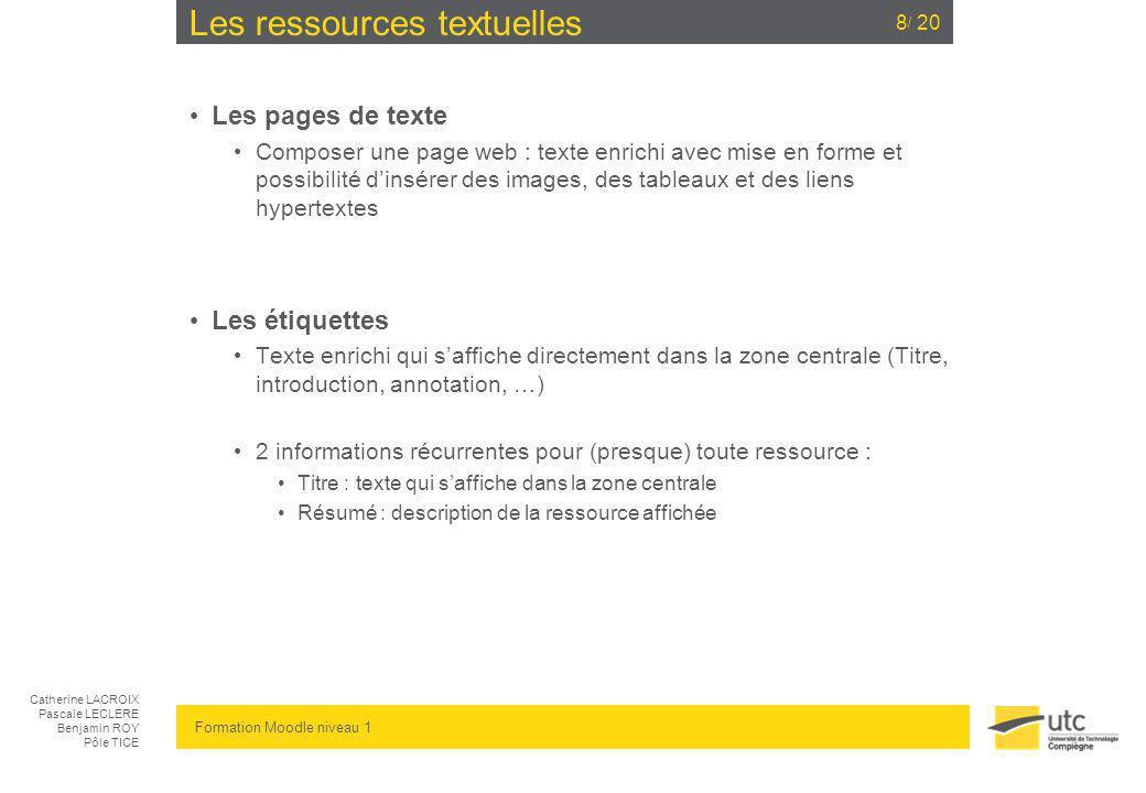 Les ressources textuelles