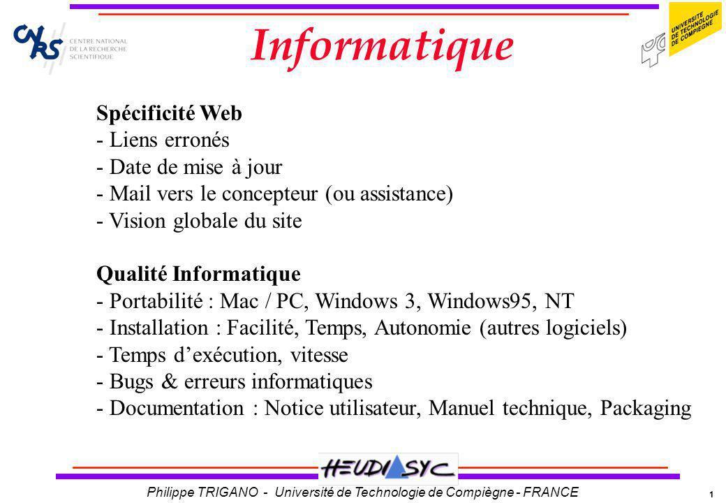 Informatique Spécificité Web Liens erronés Date de mise à jour