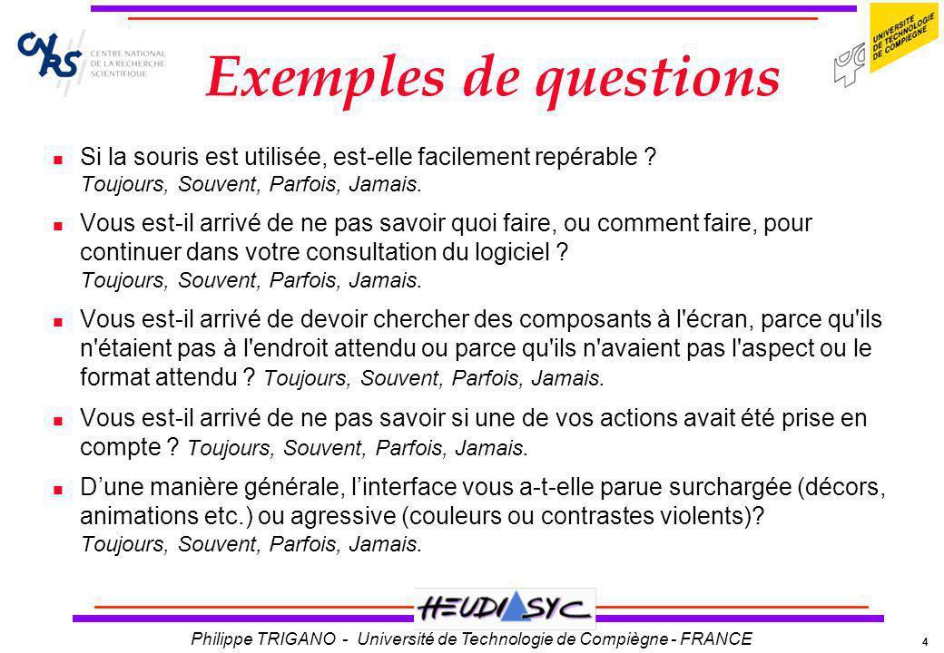 Exemples de questions Si la souris est utilisée, est-elle facilement repérable Toujours, Souvent, Parfois, Jamais.