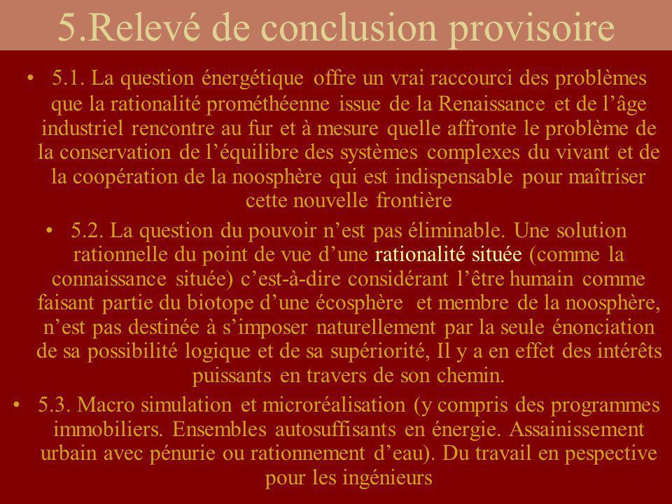 5.Relevé de conclusion provisoire