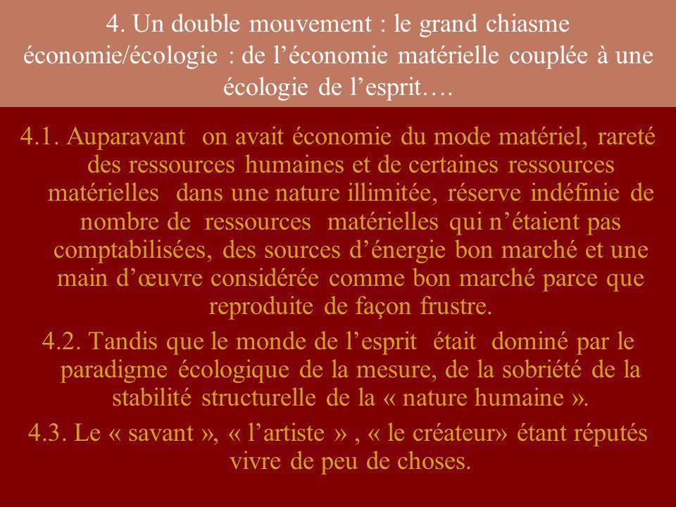 4. Un double mouvement : le grand chiasme économie/écologie : de l'économie matérielle couplée à une écologie de l'esprit….