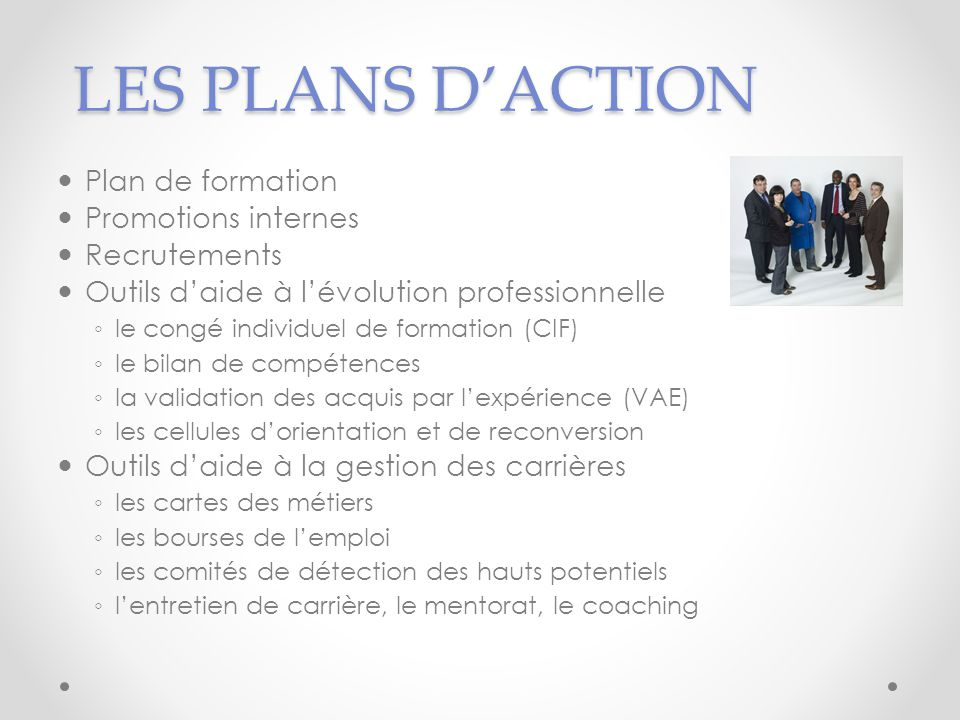 LES PLANS D'ACTION Plan de formation Promotions internes Recrutements