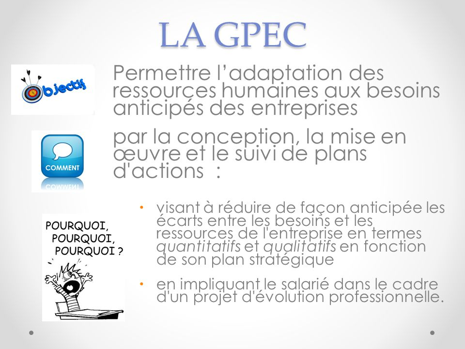 LA GPEC Permettre l'adaptation des ressources humaines aux besoins anticipés des entreprises.