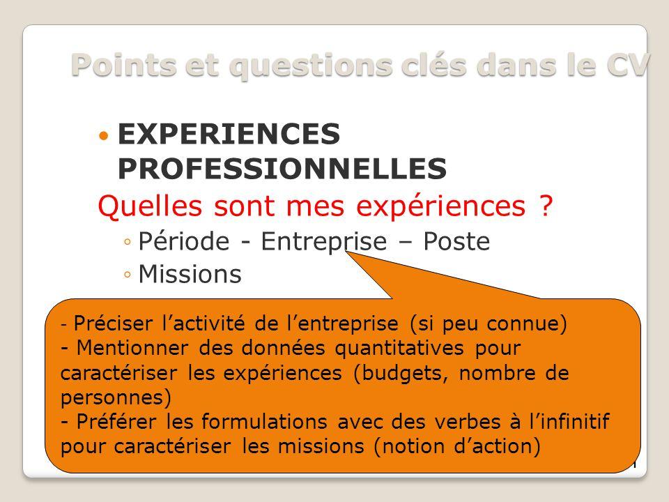Points et questions clés dans le CV