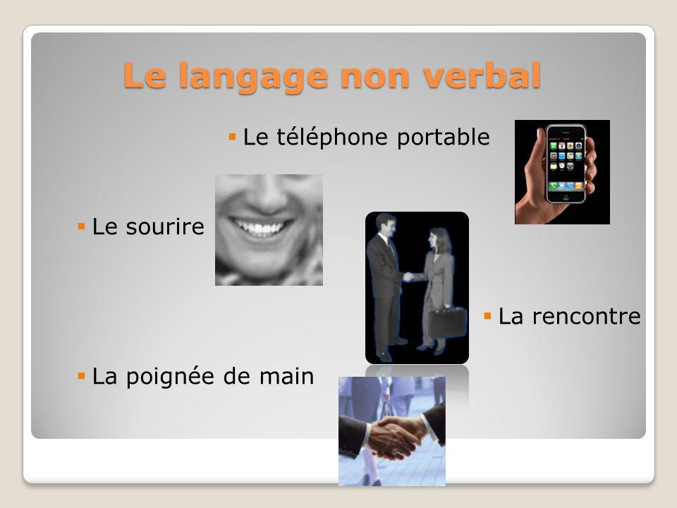 Le langage non verbal Le téléphone portable Le sourire La rencontre