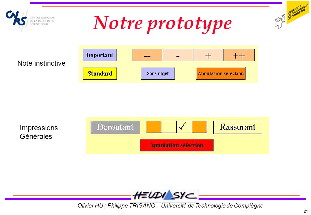 Notre prototype Note instinctive Impressions Générales
