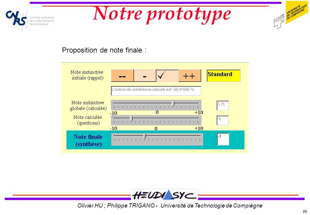 Notre prototype Proposition de note finale :