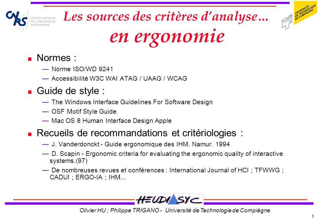 Les sources des critères d'analyse… en ergonomie
