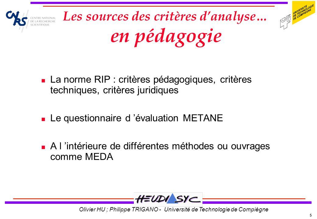 Les sources des critères d'analyse… en pédagogie