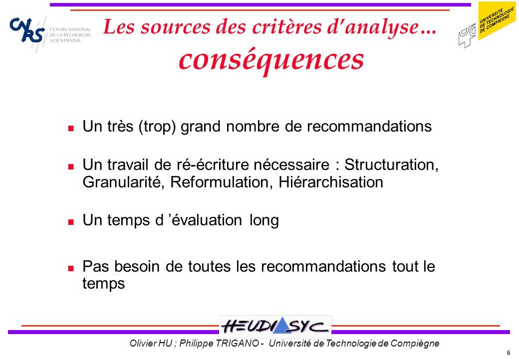 Les sources des critères d'analyse… conséquences