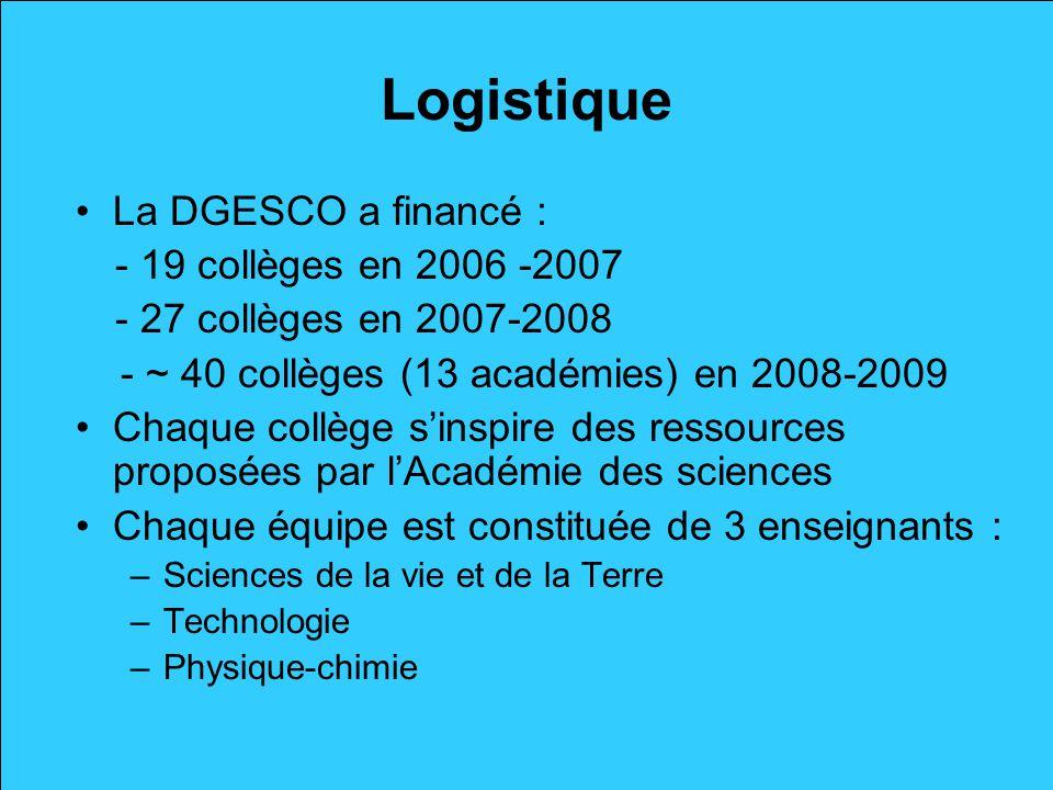 Logistique La DGESCO a financé : - 19 collèges en 2006 -2007