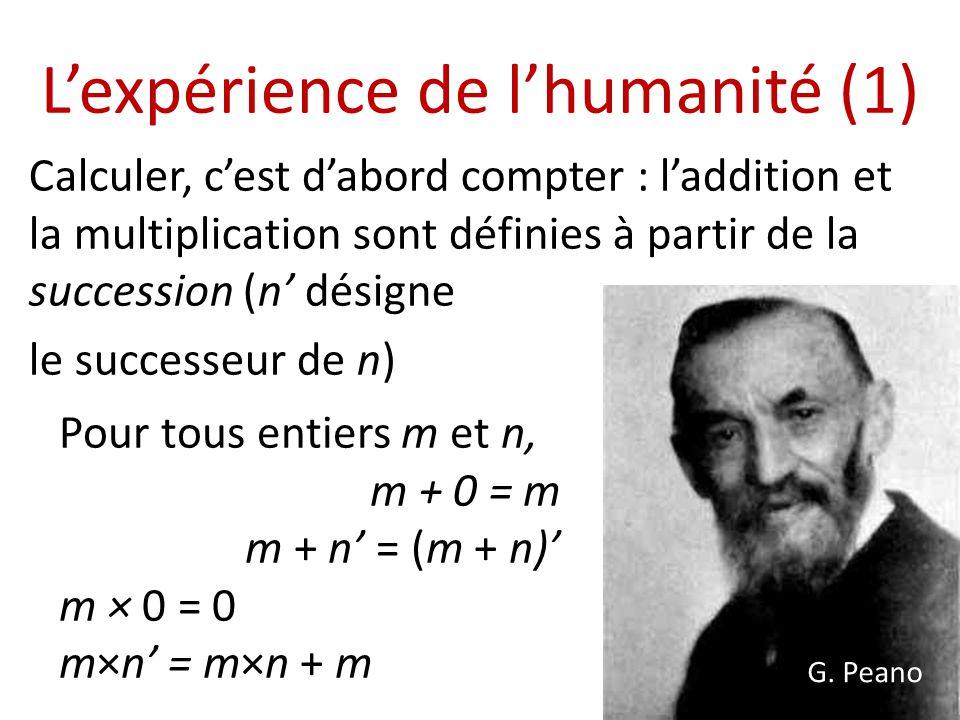 L'expérience de l'humanité (1)