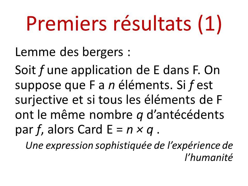 Premiers résultats (1) Lemme des bergers :