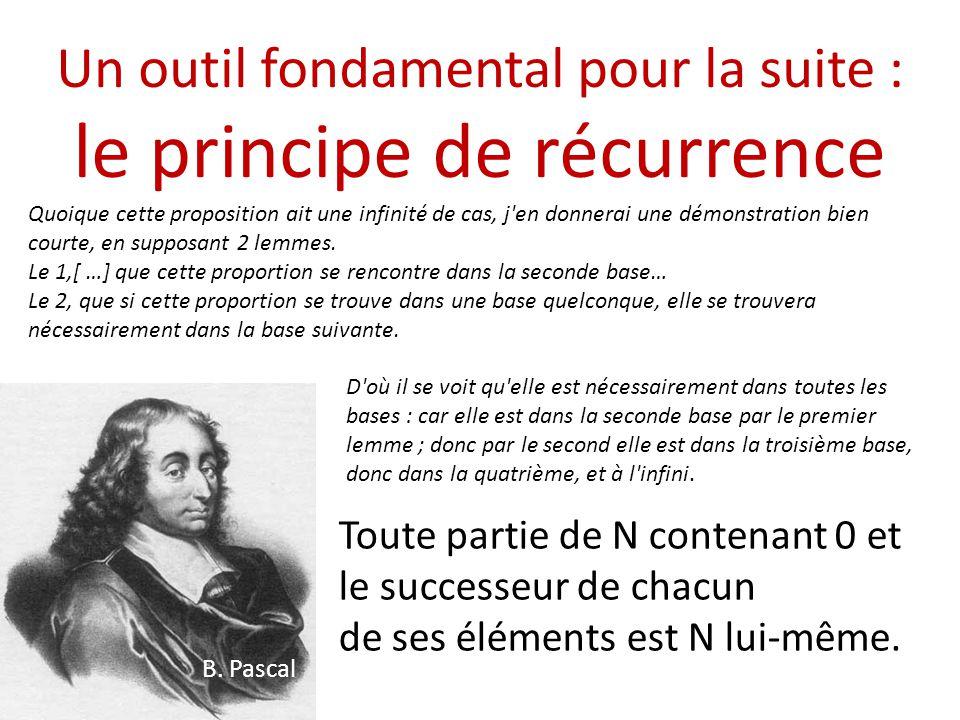 Un outil fondamental pour la suite : le principe de récurrence