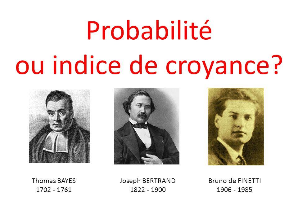 Probabilité ou indice de croyance