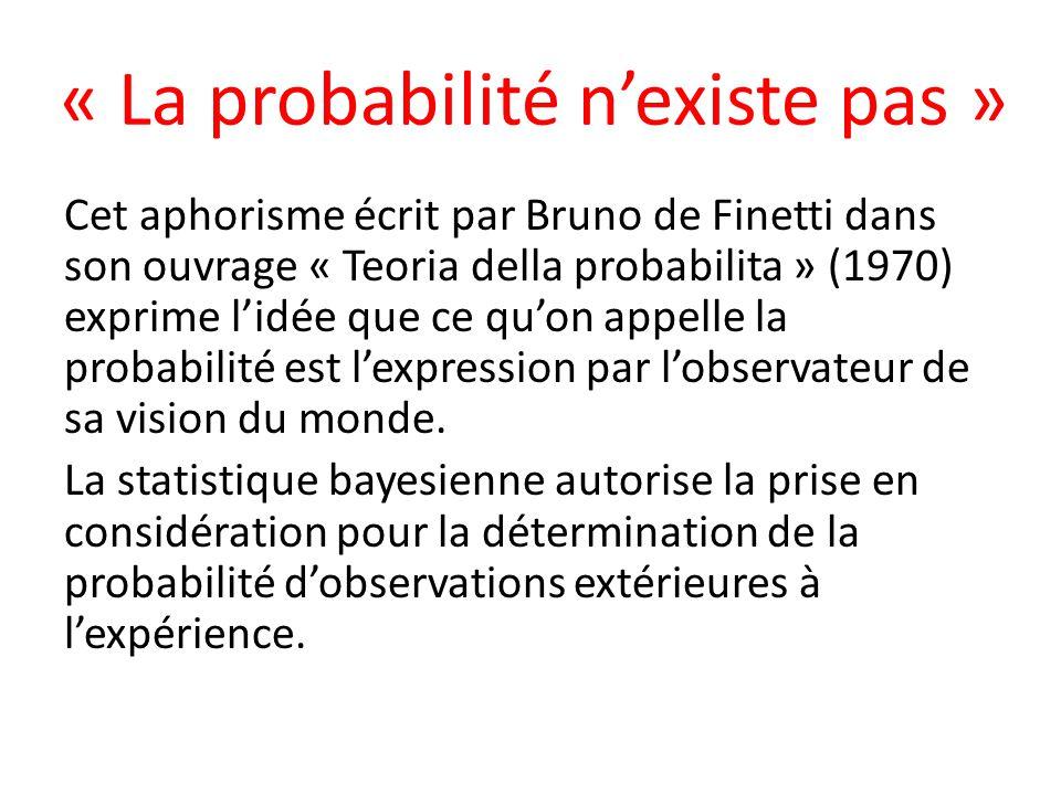 « La probabilité n'existe pas »