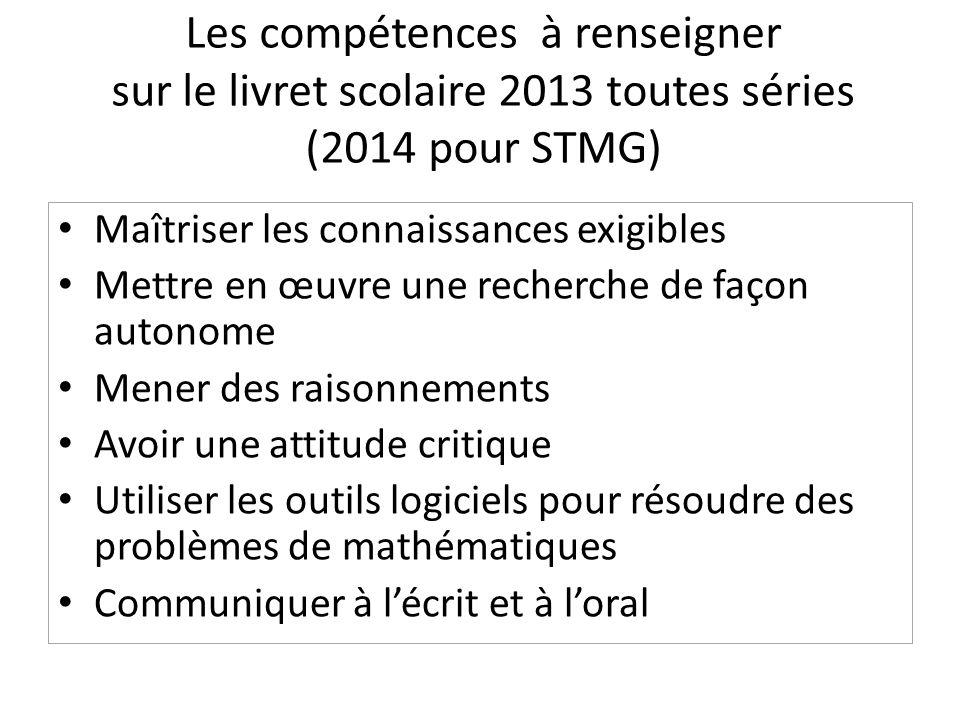 Les compétences à renseigner sur le livret scolaire 2013 toutes séries (2014 pour STMG)