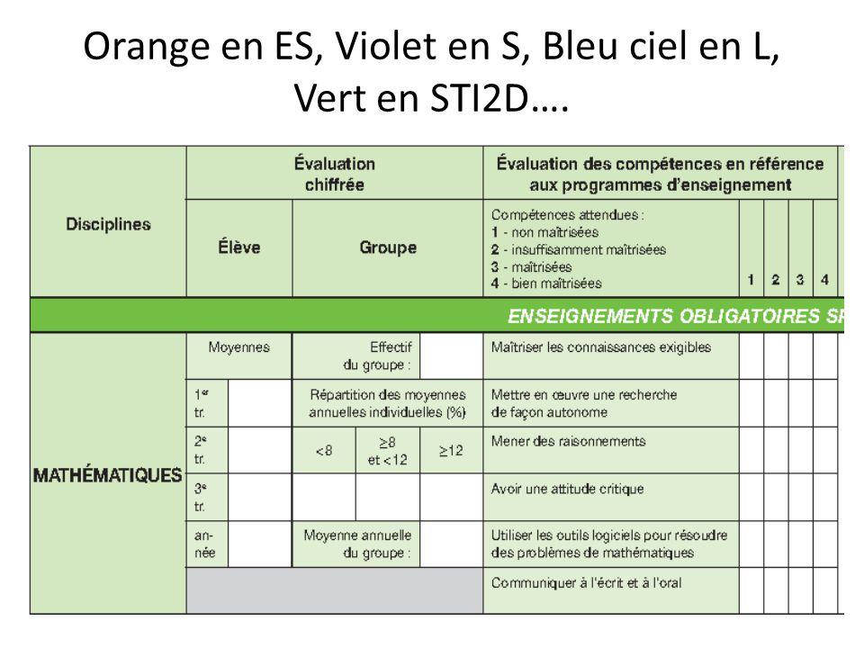 Orange en ES, Violet en S, Bleu ciel en L, Vert en STI2D….
