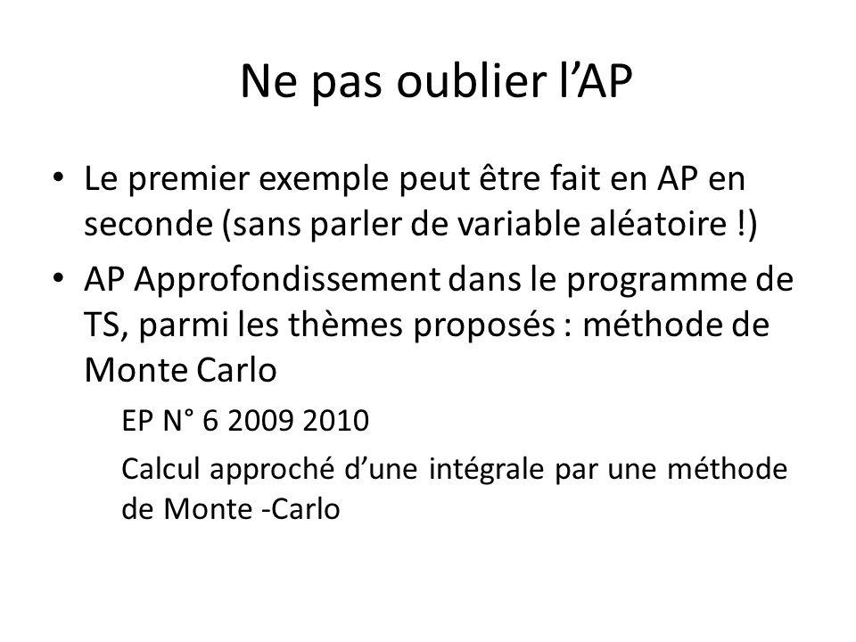 Ne pas oublier l'AP Le premier exemple peut être fait en AP en seconde (sans parler de variable aléatoire !)
